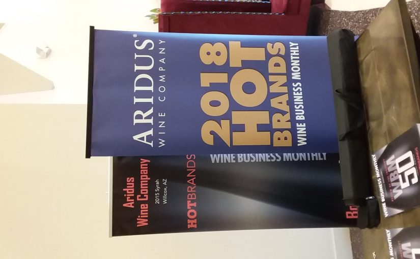 """Hot Brand"" awarded to Aridus Wine Co. by Wine Business Monthly"