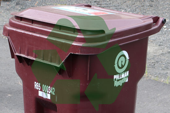 recycling bin with logo