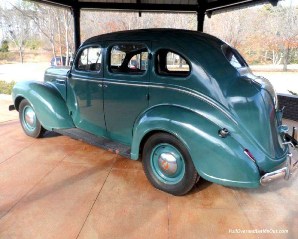 """The """"Memphis-Bound"""" car is on display outside the visitor center."""