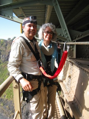 Us on the catwalk below the Victoria Falls Bridge