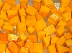 Butternut squash diced ready for oven roasting