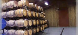 Barrel room at Oak Farm Vineyards