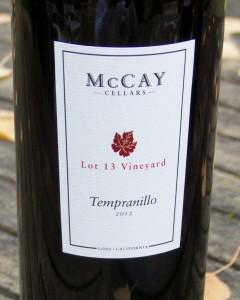 2012 McCay Cellars Lot 13 Vineyard Tempranillo