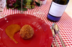 Arancini and Etna Rosso
