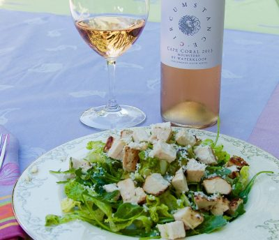 Spicy chicken salad and Waterkloof rose