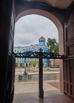 Workers square from inside church