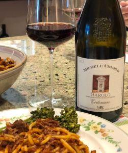 Michele Chiarlo Barolo and meaty spaghetti