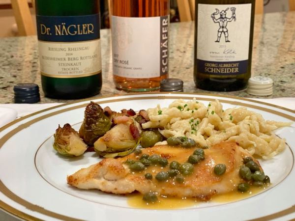 Chicken Piccata with spaetzle and Brussels sprouts