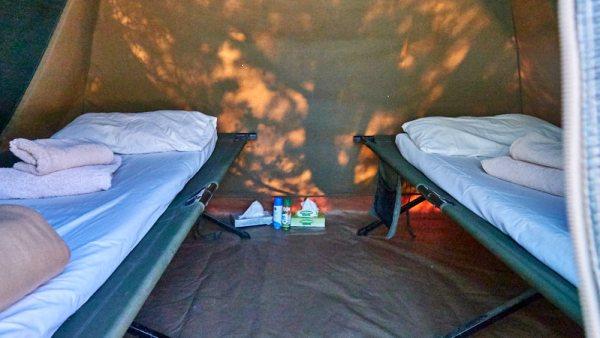 Cozy tent sleeping