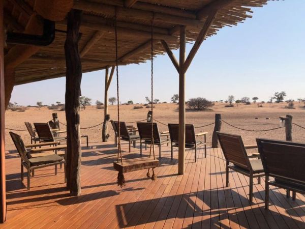 Porch swing, Kalahari Red Dunes Lodge