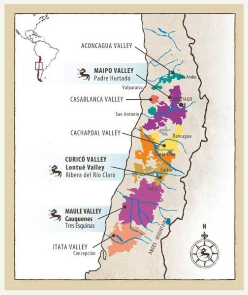 Odfjell vineyard map from the winery website