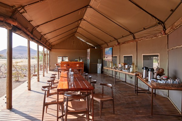 Dining room and bar Desert Rhino Camp