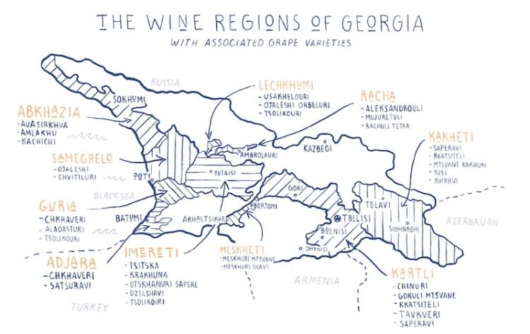 Wine Regions of Georgia. Map courtesy of Wines of Georgia photo