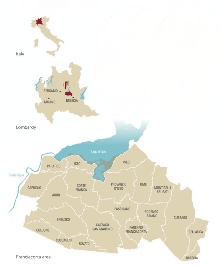 Franciacorta map provided by the Franciacorta Consortium photo