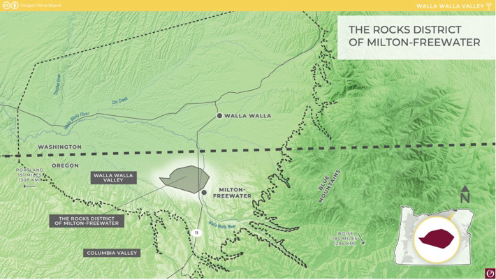The Rocks District of Milton-Freewater AVA map courtesy of the Oregon Wine Board photo