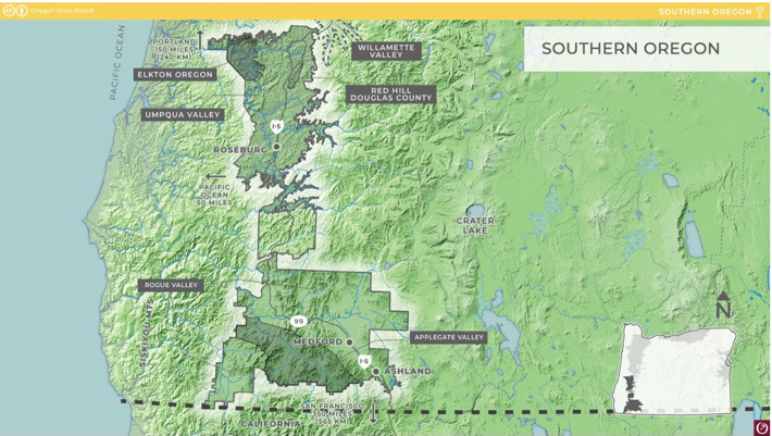 Southern Oregon AVA map courtesy of the Oregon Wine Board photo