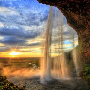 Waterfall at sunset
