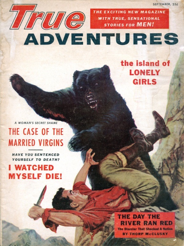 20684104-True Adventures - 1955 09 Sept - bear attack painting by Frank Cozzarell