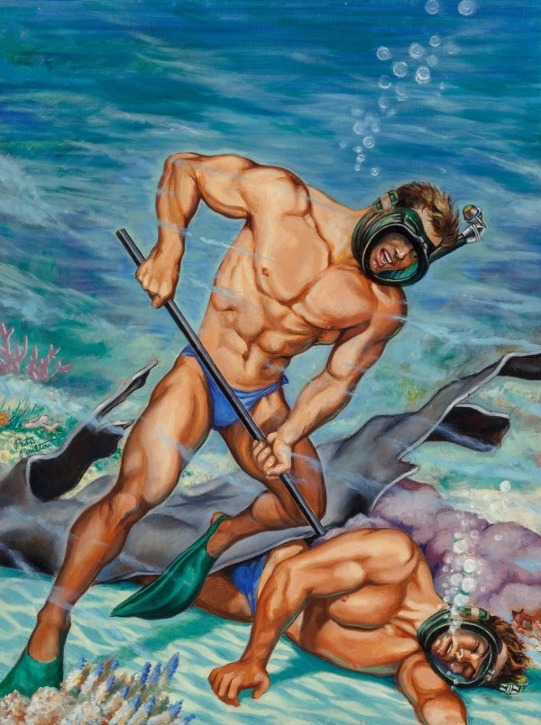 Scuba Rescue, American Manhood magazine cover, December 1952