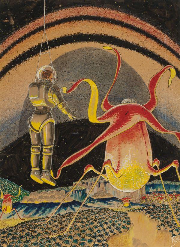 Life on Saturn, Fantastic Adventures pulp digest back cover, November 1939
