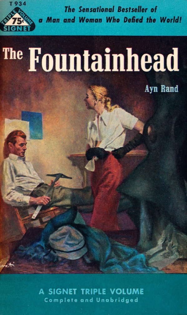 Signet Books No. T934 - The Fountainhead by Ayn Rand, 1952