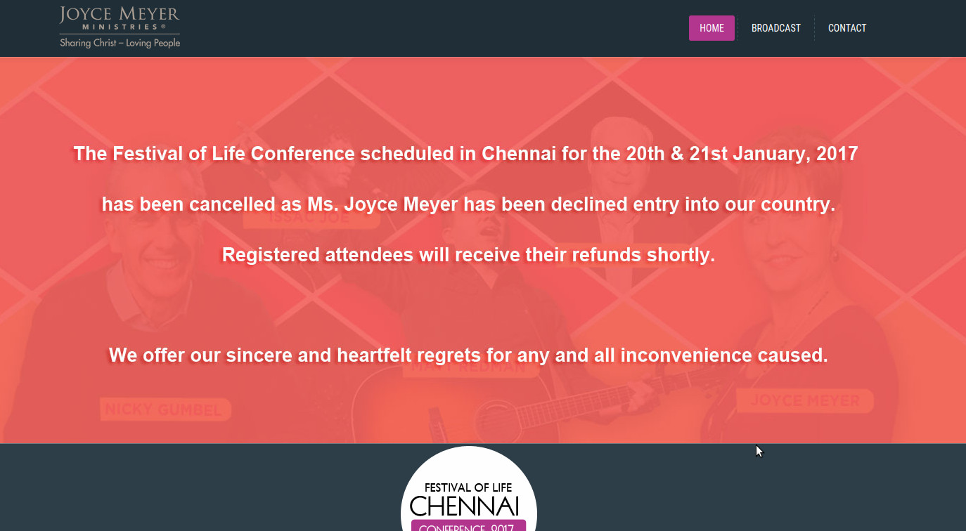 Joyce Meyer's Conference in India Canceled - Meyer Declined