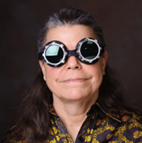 Author F J Bergman in steampunk goggles