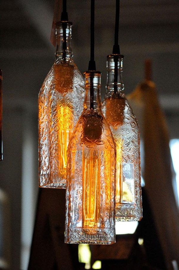 Using old bottles as shades for pendant lamps