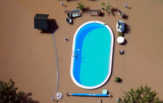 10. A swimming pool in a flood.