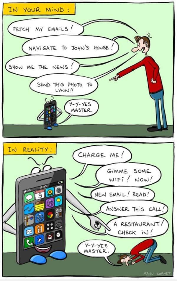 38ee32d517cd84 (klik op het plaatje voor nog 39 andere cartoons over smartphones. Veel  mensen vinden zulke cartoons irritant vanwege de beschuldigende toon)