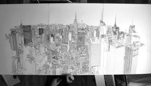 pen ink vale patrick drawing york skyline illustrator nyc illustration drawn amazing thisiscolossal huge timelapse entirely freehand stunning shows pulptastic