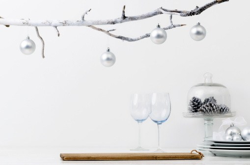 4 easy diy idea spray paint a regular branch and some acorns for an expensive polished look - Minimalist Christmas Decor