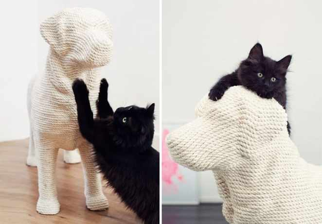 f6c19b0c1fe Dog-Shaped Scratching Post Finally Lets Cats Have Their Sweet Revenge
