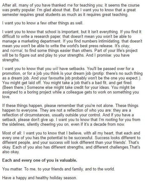 sub buzz 21693 1481647886 8 - This Email From A Professor Brought Her Students To Tears, And Everyone Needs To Read It