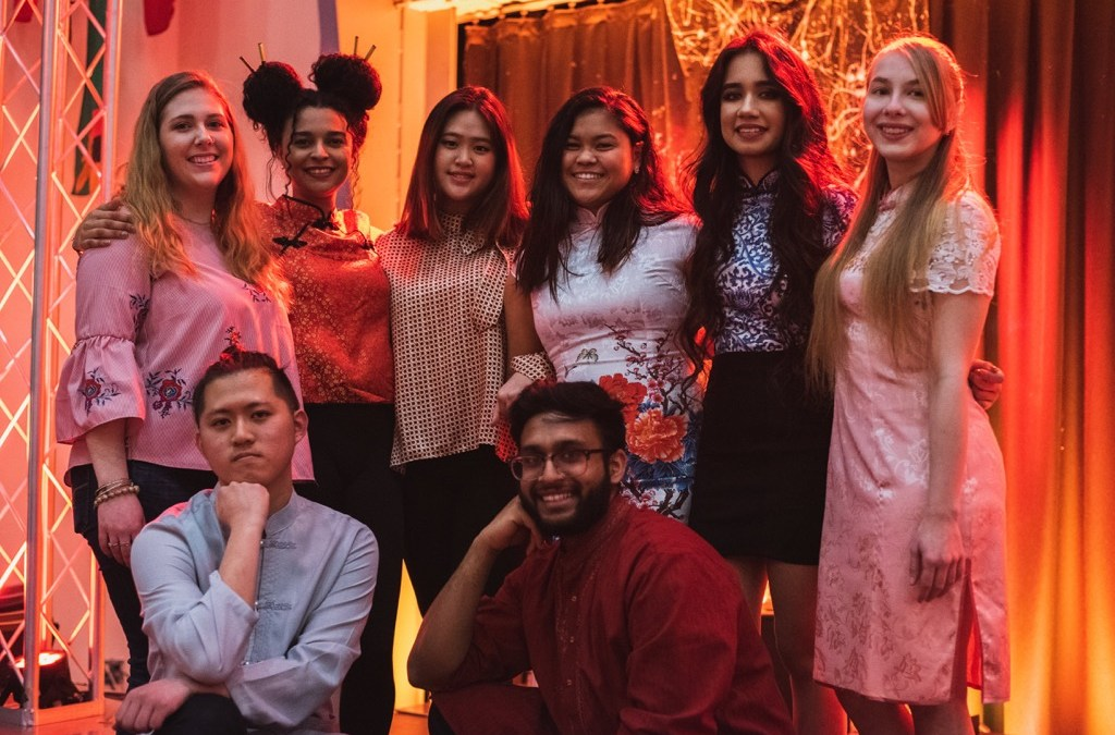 Students pose together at ASA Lunar New Year event