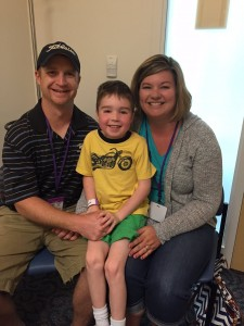 Aaden Adams with his parents, Cheree and Andrew Adams