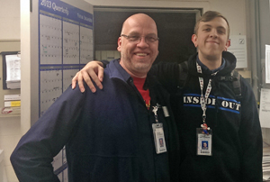 Travis (left) works in Building and Engineering; his son, Tynan, works in the Nutrition Department.