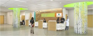 ED Lobby: The new ED has more space and additional treatment rooms to reduce wait times and shorten lengths of stay.
