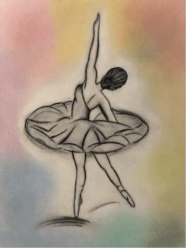A sketch of a ballet dancer.