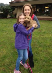 Katie, her mother, Jennifer Belle, and their puppy, Penny.