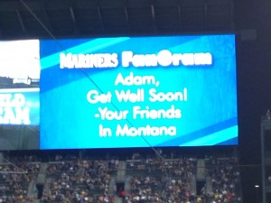 "Hometown friends surprise Adam with ""Get Well Soon"" message on Mariner's TV"