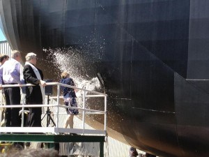 Barge christening by Dr. Bonnie Ramsey