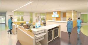 Shared Team Spaces: The ED team will occupy shared team spaces adjacent to each patient's room. Layout enables caregivers to stay near patients at all times so families will have access to immediate help when they need it.