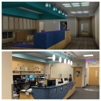 top picture is minecraft version of clinical desk. bottom picture is real life photo of clinical desk
