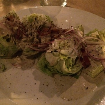 Baby iceburg lettuce, tomato, red onion, pecan wood smoked maple bacon, gorgonzola-ranch dressing.