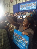 Moriah Ray takes a selfie during the rally.