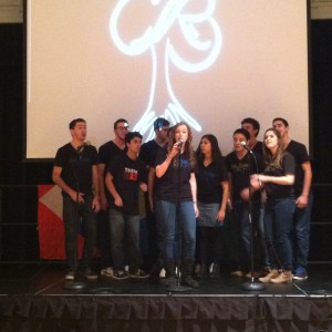 Rak Shalom, a Jewish acapella group, sings on stage.