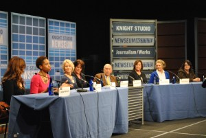 Panelists (left to right) Rachel Nichols, Monica McNutt, Andrea Kramer, moderators Christine Brennan and George Solomon, Marcia Keegan, Lesley Visser and Mary Byrne. (Breana Bacon/Pulsefeedz)
