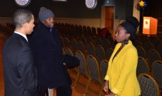 Julian Ivey, Moriah Ray and Rep. Cummings' assistant prepare for the speech (Jessie Karangu - Pulsefeedz)
