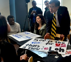 President Loh speaks to students on topics concerning Friday's protest. (Dante Evans/Pulsefeedz)